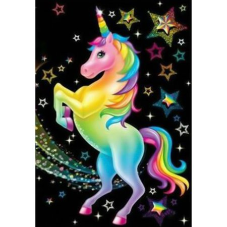 Fancyleo New Round Diamond Diamond Painting Colorful Unicorn Cross Stitch Diamond Painting Ornament