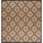 7.5' x 7.5' Sol Temple Bistre Brown and Tuscan Red Square Outdoor Area Throw Rug
