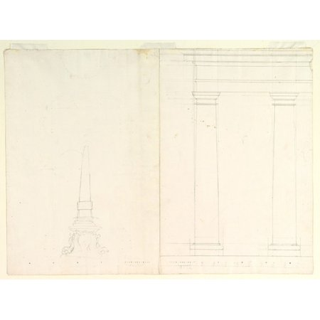 Doric Columns - Design for an Obelisk Partial Design in Elevation for Colonnade in the Doric or Tuscan Order (recto) Design for Fluted Column on Podium in Elevation (verso) Poster Print by Anonymous Italian Piedmonte