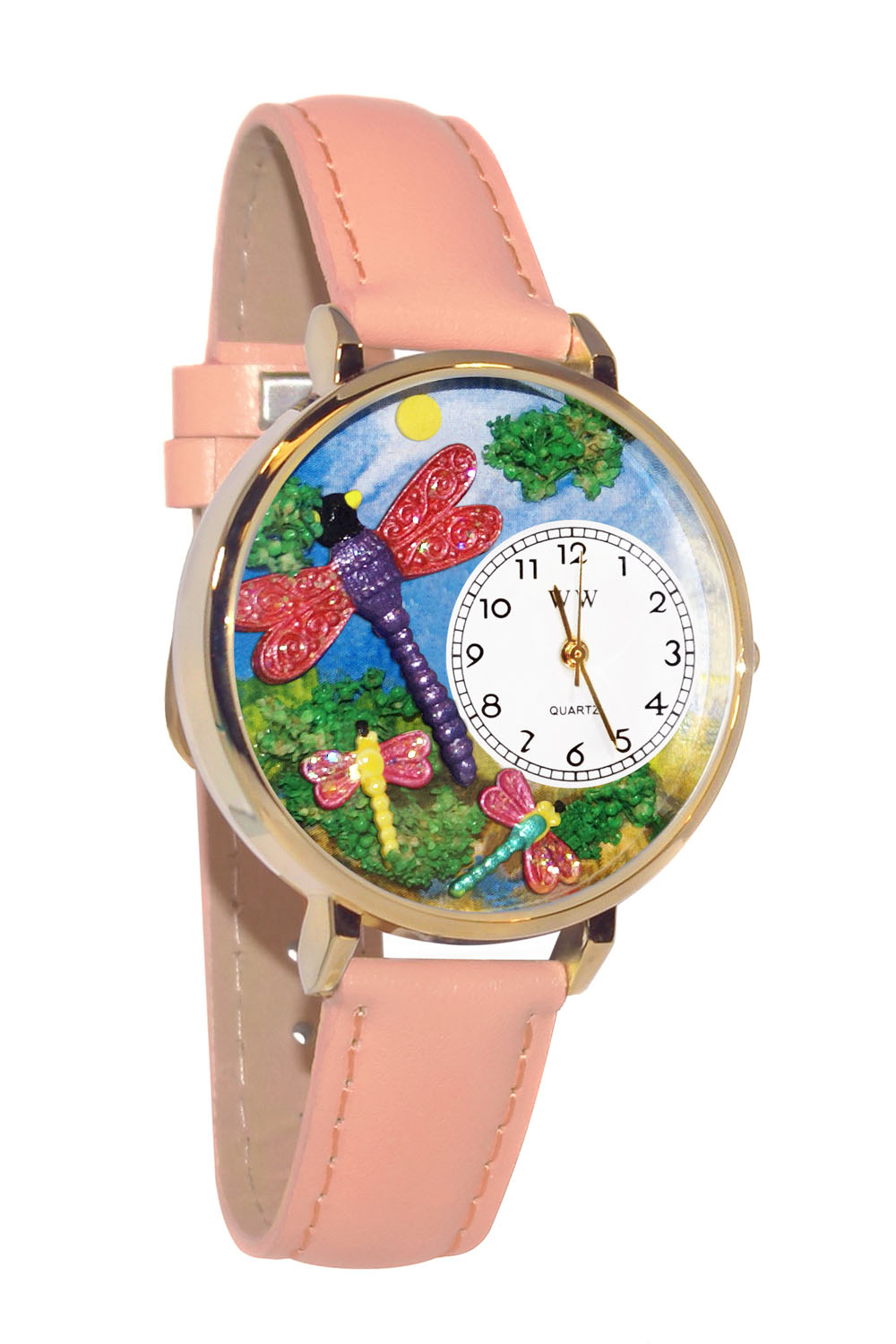Whimsical Dragonflies Pink Leather And Goldtone Watch