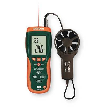 Anemometer with IR Temp,80 to 5900 fpm EXTECH HD300-NIST
