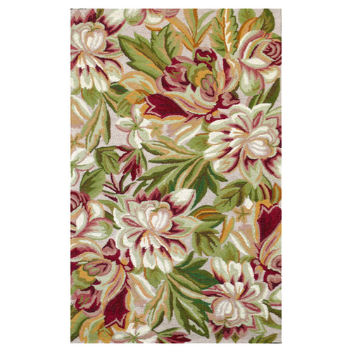 123 Creations Floral Hook Red/Green Magnolia Area Rug