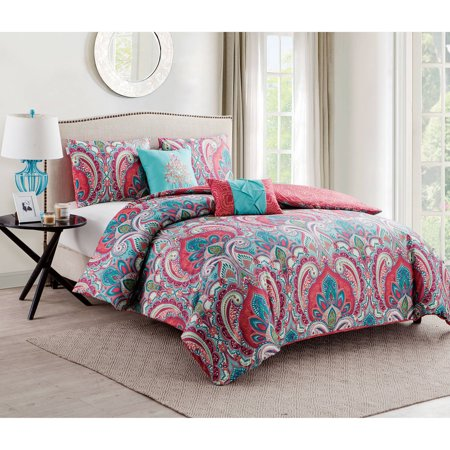 Black White Paisley Duvet Cover - VCNY Home Casa Re\'al Multi-Color Paisley 4/5-Piece Reversible Bedding Duvet Cover Set, Decorative Pillows and Shams Included