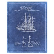 Sail Boat Blue2 Patent Drawing Printed on a Repositionable Wall Decal