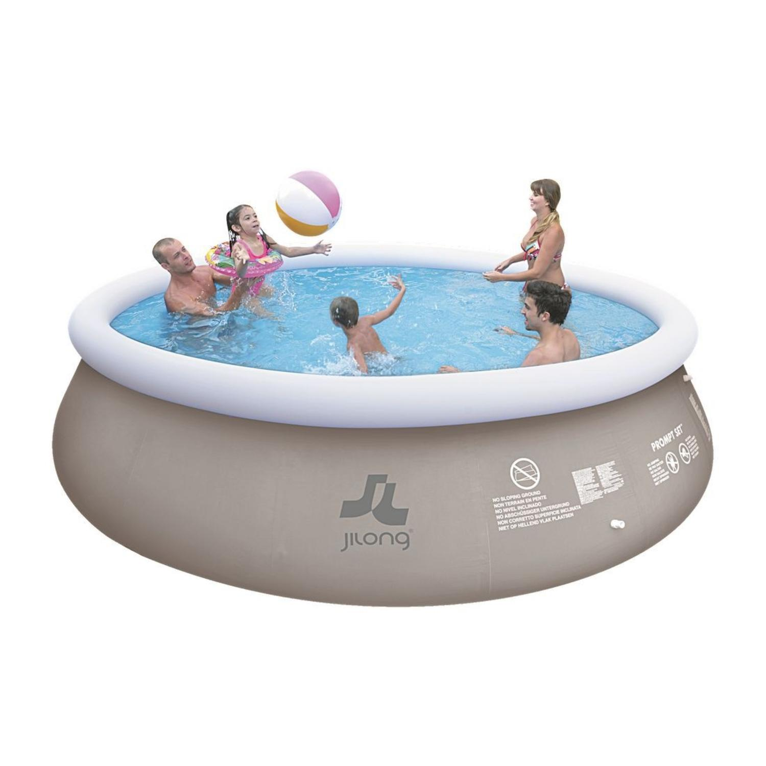 "18' x 48"" Gray and White Inflatable Above Ground Prompt Swimming Pool Set by Above Ground Pools"