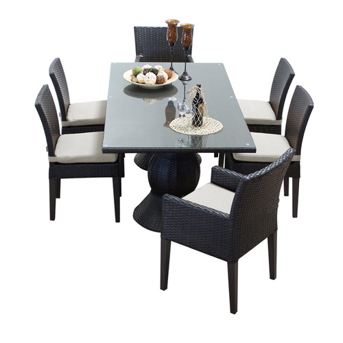 TK Classics Napa Wicker 7 Piece Rectangular Patio Dining Set with Side Chair and 12 Cushion Covers