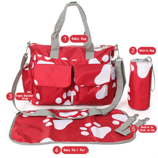 Multi-functional Mommy Diaper Bag Large Capacity Fashion Maternity Baby Nursing Shoulder Stroller Bag (Red Footprint)