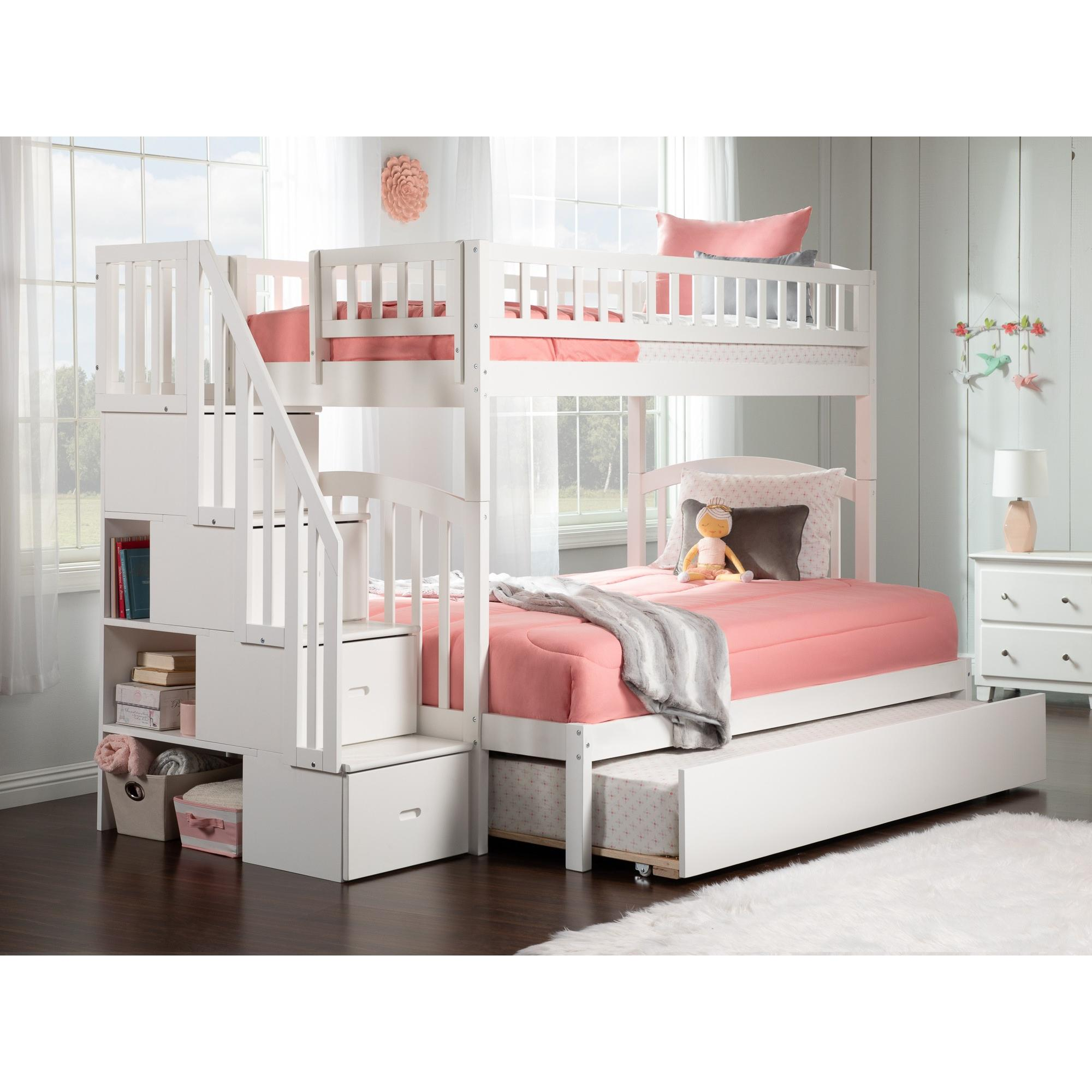Westbrook Staircase Bunk Twin Over Full With Twin Size Urban Trundle Bed In  White