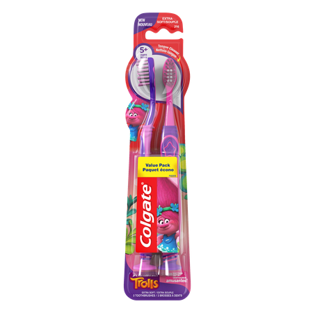 Kids Brush ((2 pack) Colgate Trolls Kids Manual Toothbrush with Suction Cup, Extra Soft, 2 Count Each )