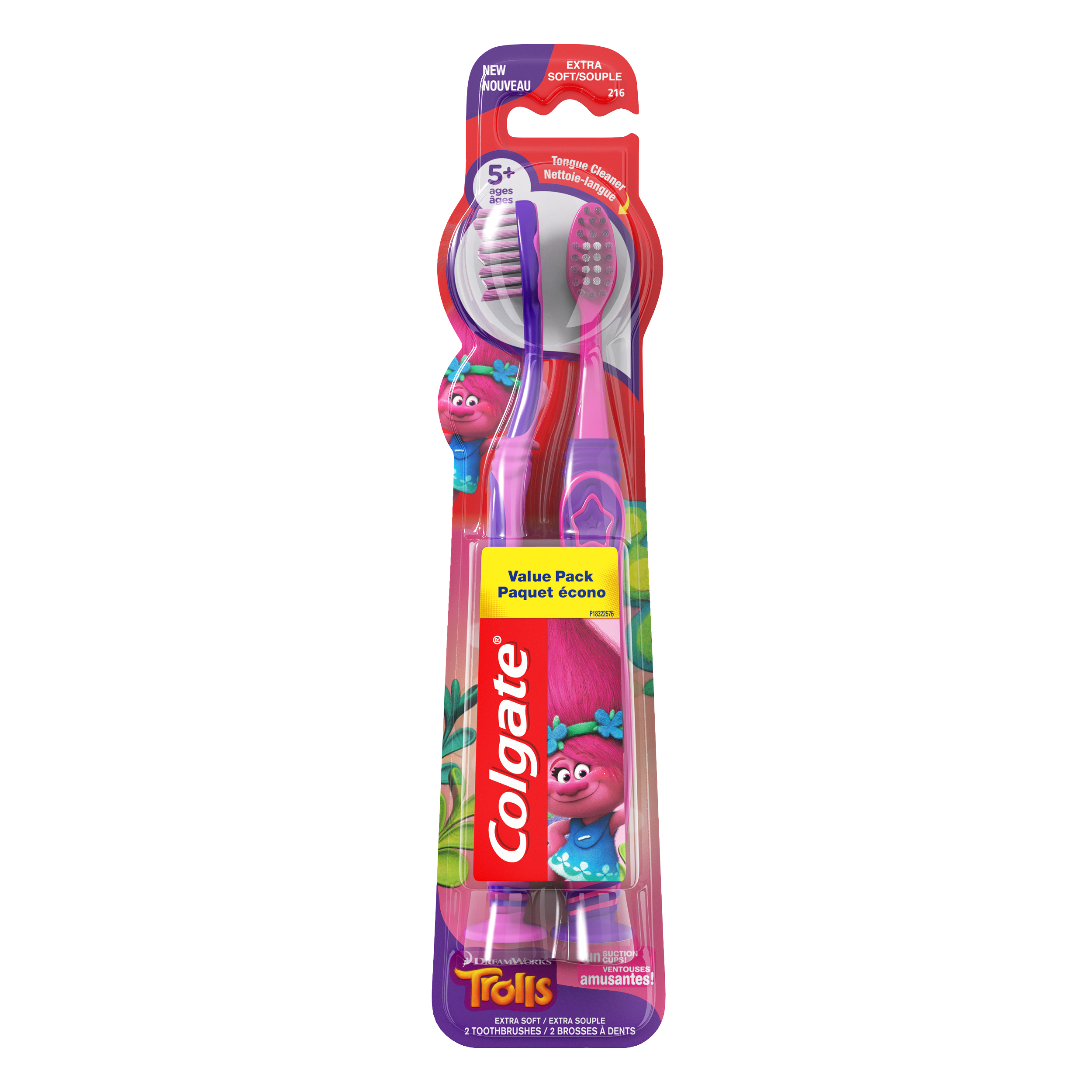 Colgate Kids Toothbrush, Trolls, Extra Soft - 2 Count