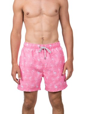 """Endless Summer Men's 6"""" White and Pink Flamingo Swim Short, up to Size 2XL"""