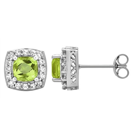 Classic Stud 1.50 Carat Cushion Cut Peridot Gemstone & Cubic Zicrona Earrings In Sterling Silver