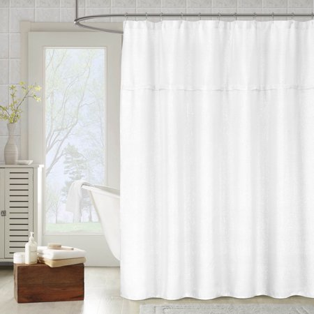 Metallic White Fabric Shower Curtain: Textured Sheer ...