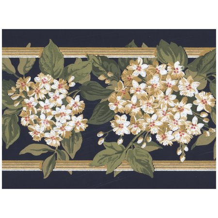Prepasted Wallpaper Border - White Flowers on Trellis Fence Black Wall Border Retro Design, Roll 15 ft. x 7 in. - Halloween Windows 7 Wallpaper