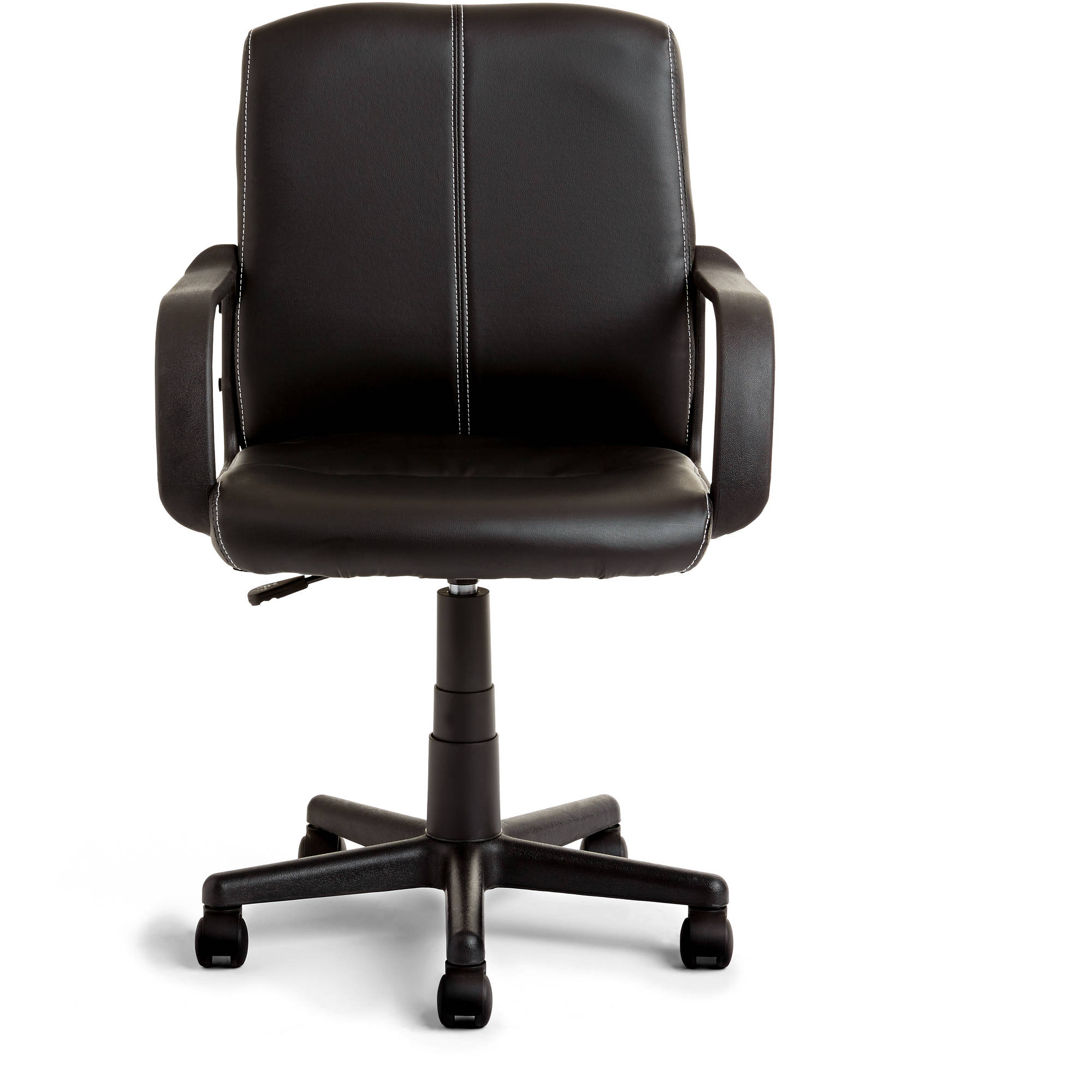 Picture of: Mainstays Leather Mid Back Rolling Swivel Office Chair Walmart Com Walmart Com
