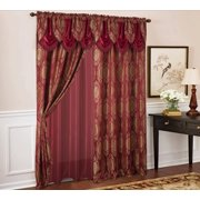 Kenyon Damask Textured Jacquard 54 x 84 in. Single Rod Pocket Curtain Panel w/ Attached 18 in. Valance in Burgundy