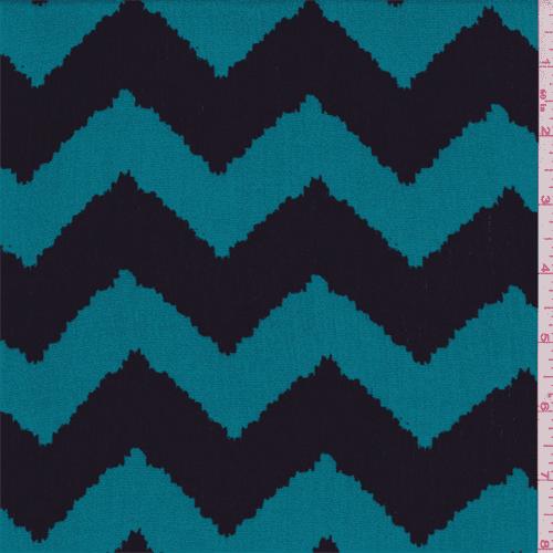 Teal Blue/Black Chevron Print Rayon Crepon, Fabric By the Yard