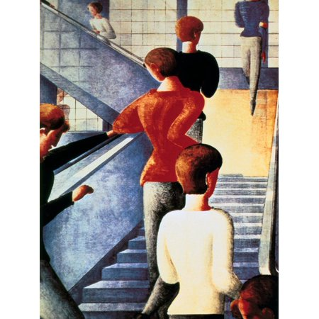 Stairs to the Bauhaus, 1932 German Expressionist Figurative Painting Print Wall Art By Oskar Schlemmer (German Expressionist Prints)