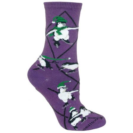 Penguins Skating Purple Ladies Socks