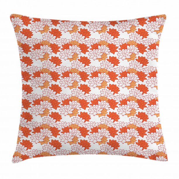 Lotus Flower Throw Pillow Cushion Cover Abstract Lily Blossoms In Warm Colors Zen Garden Feng Shui