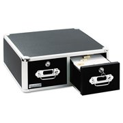 Locking 3 X 5 Index Card Cabinet Double Drawer Black Vz01393