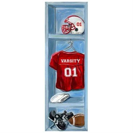 oopsy daisy - football locker canvas wall art 12x36, jones segarra