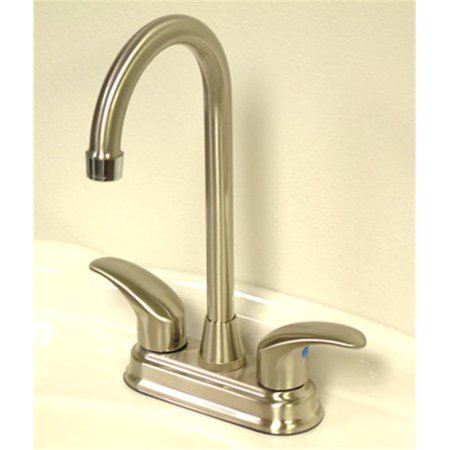 4 Inch Centerset Bar Faucet - Satin Nickel Finish With Polished Chrome Accents
