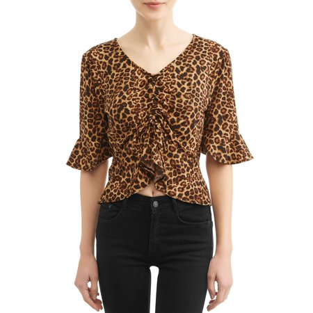 Juniors' Leopard Print Flutter Sleeve Cinched Front Blouse