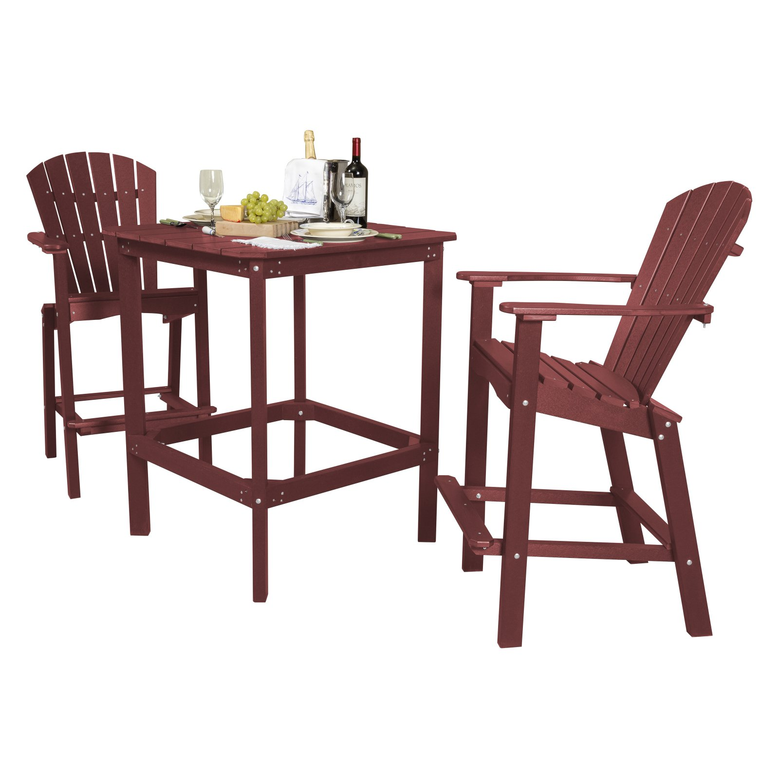 Little Cottage Classic Recycled Plastic 3 Piece Square Bar Height Patio Dining Set