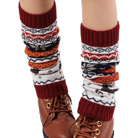 Womens Winter Warm Long Boot Socks Knit Crochet Stockings High Knee Leg Warmers Crochet Leg Warmers