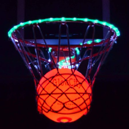 GlowCity Ultra Bright LED Basketball With Glow In The Dark LED Rim Kit - Aqua Teal, Size 7 Basketball (Official Size) - (Basketball Hoop Not Included) (Buy Basketballs In Bulk)