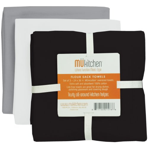 MUkitchen Cotton Flour Sack Towel 24 by 36-Inches Set of 3 Chalkboard