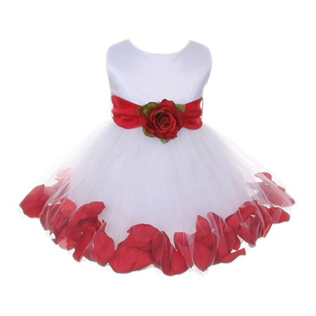 Baby Girls White Red Floral Petals Organza Sash Flower Girl Dress (Best Shoes To Wear With Maxi Dress)