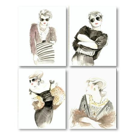 4 Popular Vintage Runway Model Vogue Fashion Prints; Four 8x10 Poster Prints
