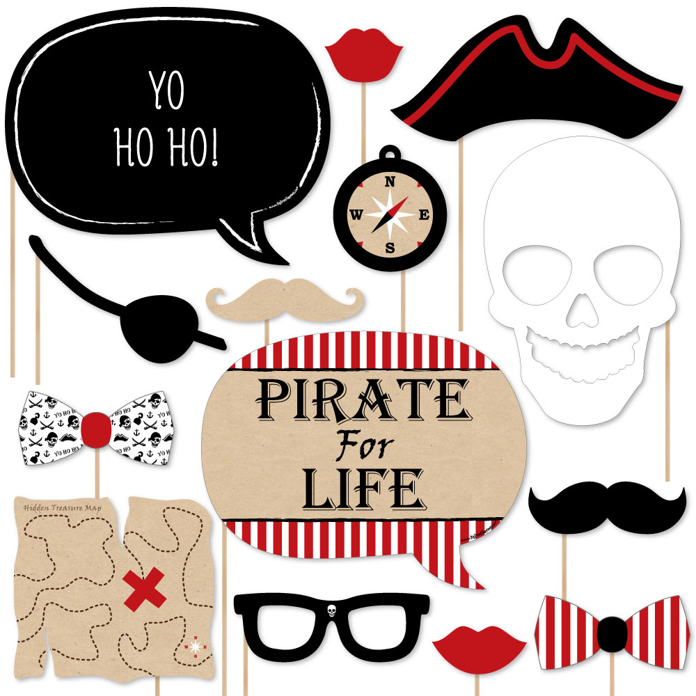 Beware of Pirates - Pirate Birthday Party Photo Booth Props Kit - 20 Count