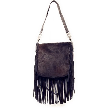 Handcrafted Genuine Leather Western Cowhide Womens Fringe Clutch Crossbody (Cowhide Leather Mini)