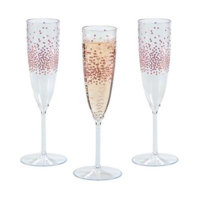 IN-13754084 Premium Plastic Rose Gold Dot Champagne Flutes 25 Piece(s)