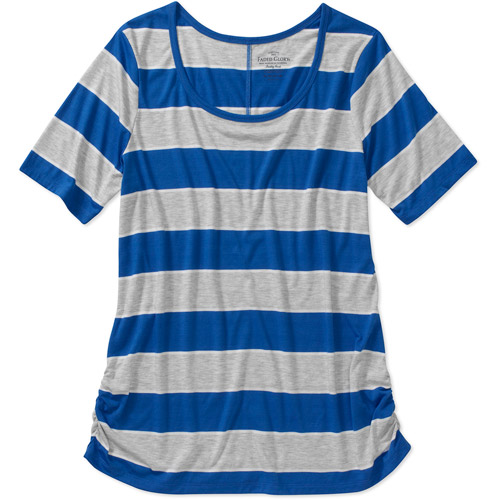 Faded Glory Women S Plus Size Bold Stripe Scoopneck Tee
