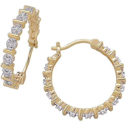 Diamond Accent 14kt Gold-Plated Hoop Earrings