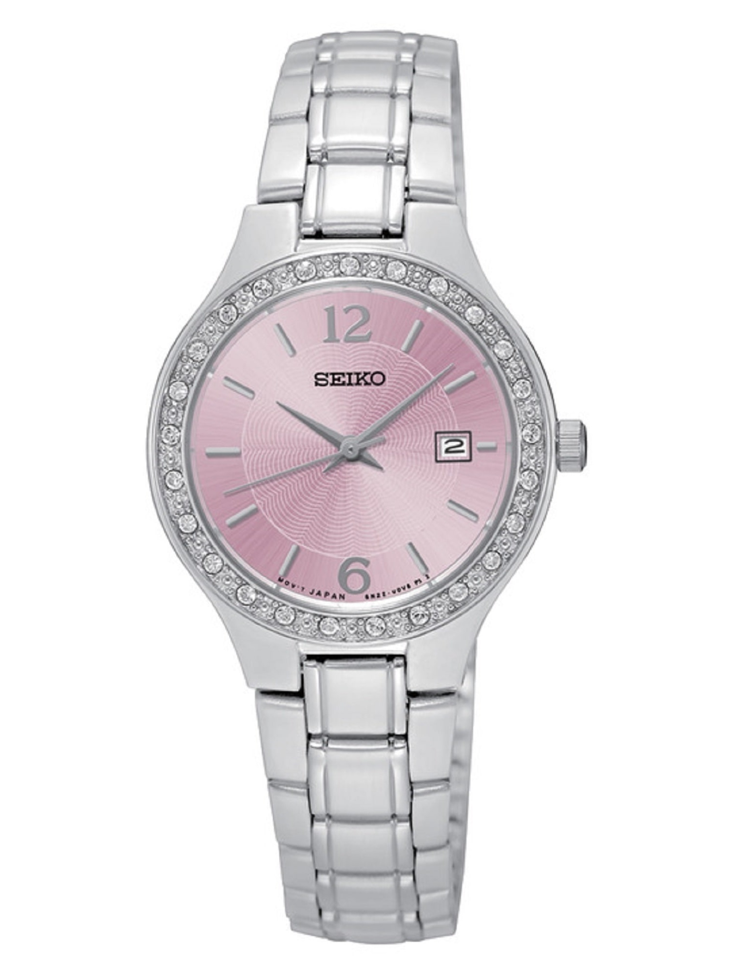 Seiko SUR787 Women's Stainless Steel Silver Bracelet Band Pink Dial Watch