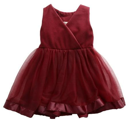 Baby Girls Flower Evening Party Lace Chiffon Sleeveless Tulle Bow Gown Formal Wedding Dresses 2-7Y Wine Red](Chiffon Bows)
