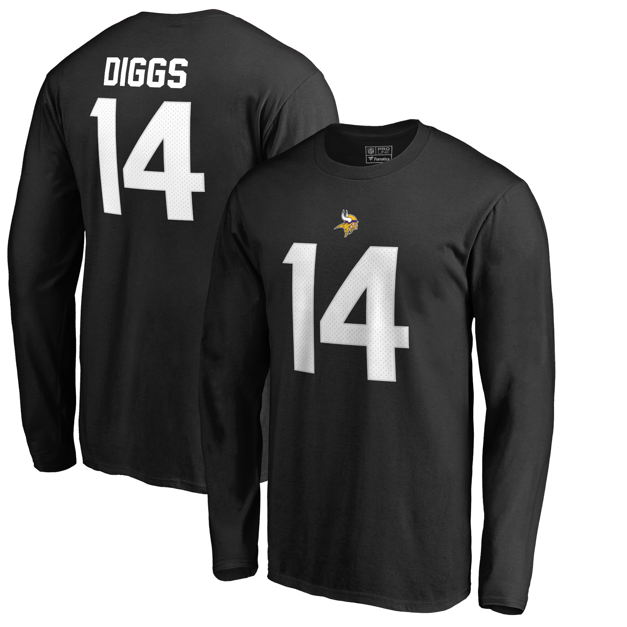Stefon Diggs Minnesota Vikings NFL Pro Line by Fanatics Branded Authentic Stack Name & Number Long Sleeve T-Shirt - Black