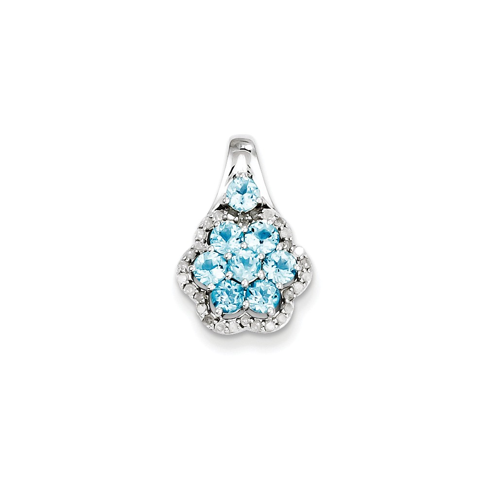 Sterling Silver 1.01ct Diamond & Light Swiss Blue Topaz Flower Pendant
