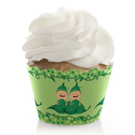Twins Two Peas in a Pod - Baby Shower or Birthday Party Cupcake Wrappers - Set of 12