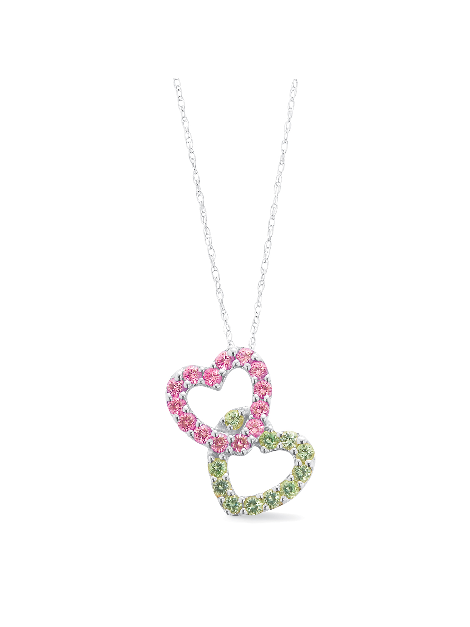 Keepsake Personalized Family Jewelry Building Hearts Birthstone Pendant available in Sterling Silver, Yellow and White Gold
