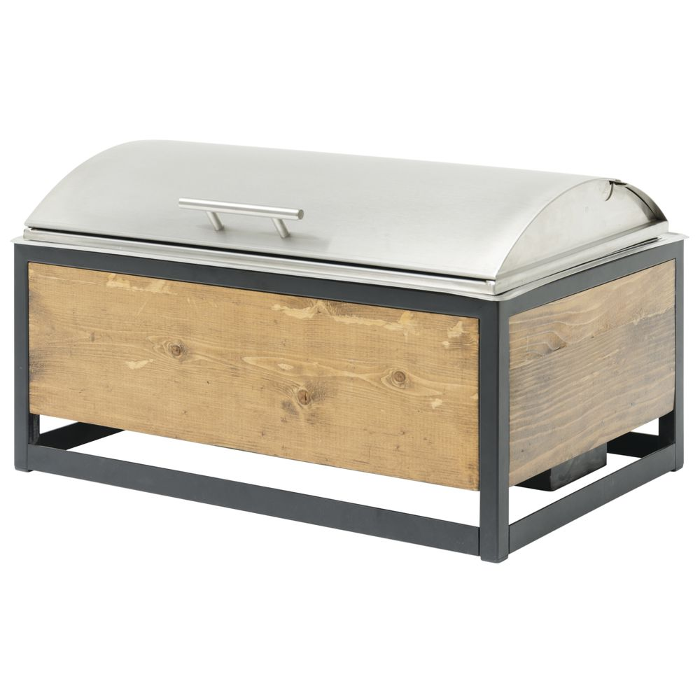 Rolltop Chafer in Reclaimed Wood Stand Stainless Steel Full Size - 22 3/4 L x 13 3/4 W x 12 1/2 H