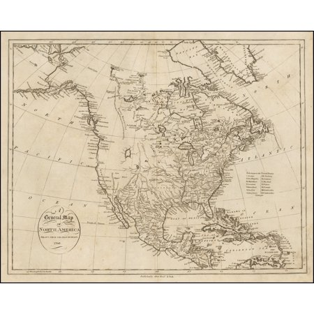 LAMINATED POSTER A General Map of North America Drawn From The Best Surveys . . . 1795 POSTER PRINT 24 x