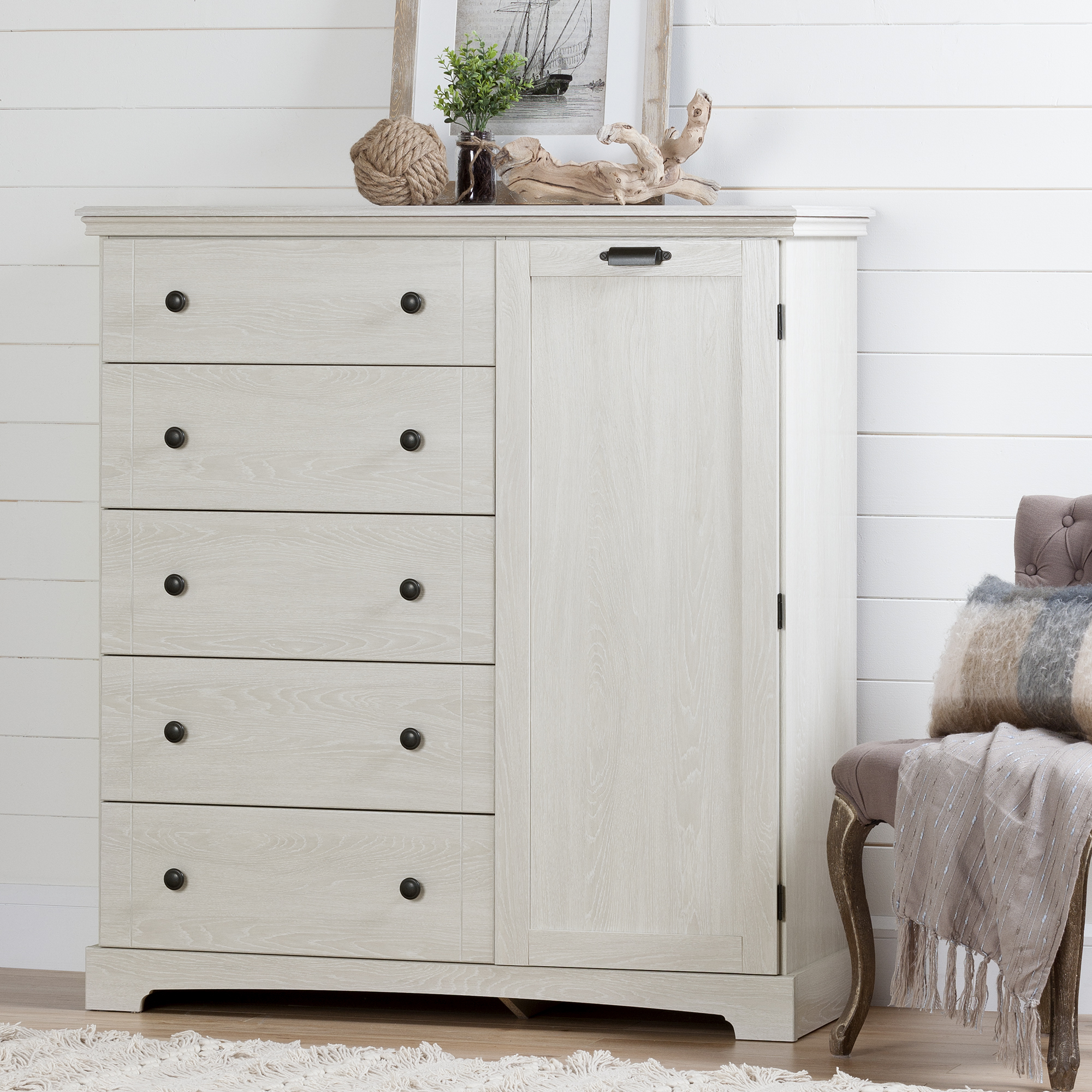 South Shore Avilla Door Chest with 5 Drawers, Winter Oak by South Shore