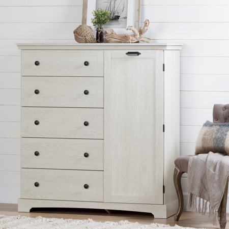 South Shore Avilla Door Chest With 5 Drawers  Winter Oak