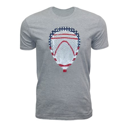 Zone Apparel Lacrosse Men's American Flag Goalie Head USA T-shirt Small Grey